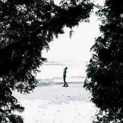 March 17, 2011 (sonyacita) Tags: selfportrait snow ontario beach self square blackwhite sand utatafeature utata:project=tw256