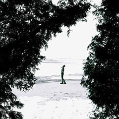 March 17, 2011 (sonyacita) Tags: selfportrait snow ontario beach self square blackwhite sand utatafeature utata:project=tw256