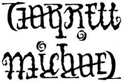 """Garrett"" & ""Michael"" Ambigram Sketch, v.2"