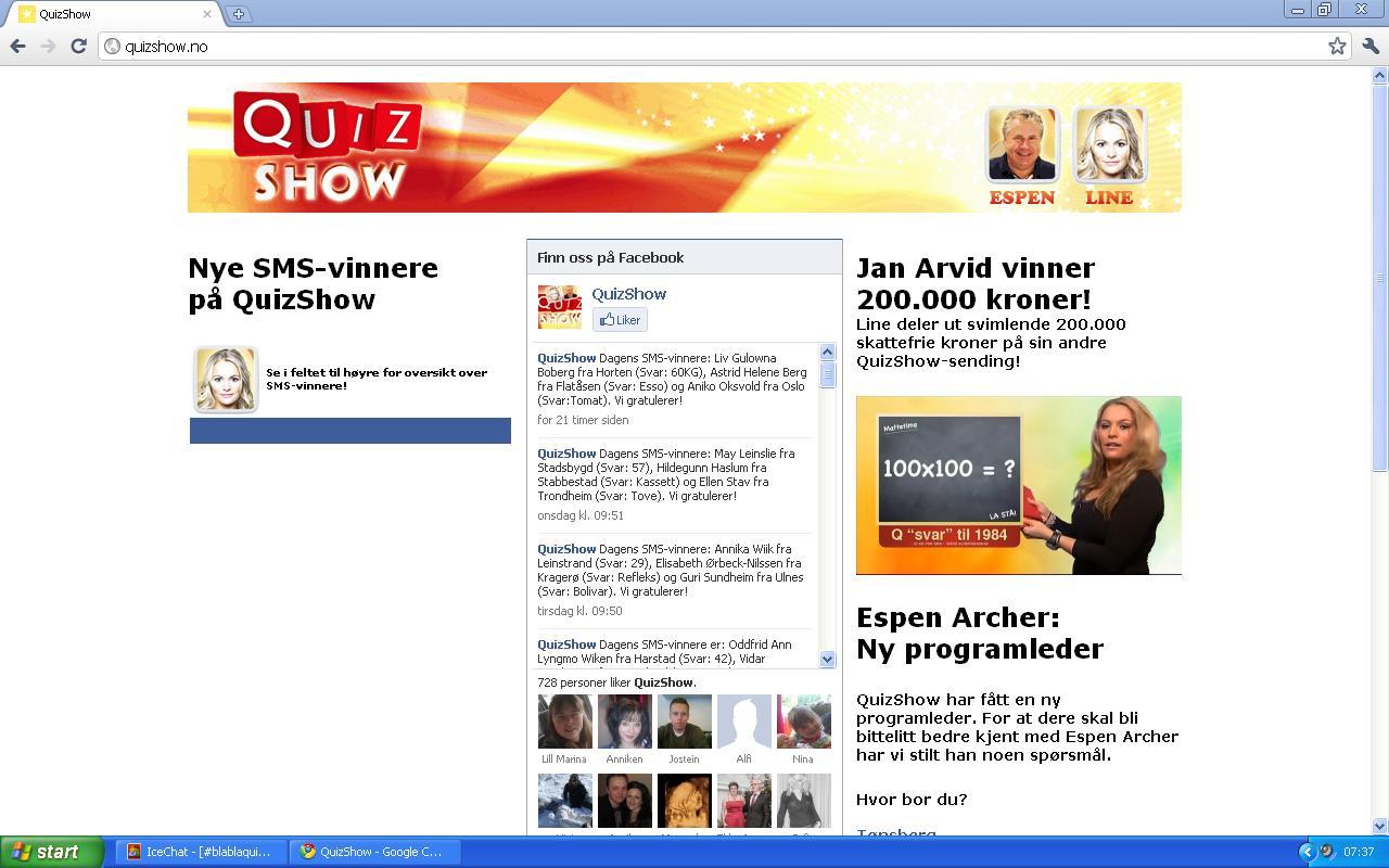 quiz show noe på tv
