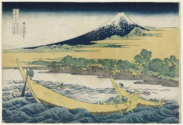 Katsushika Hokusai - Tokaido Ejiri Tago no ura ryakuzu (Abridged view of the coast of Tago near Ejiri on the Tokaido) Ukiyo-e print