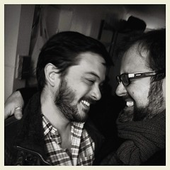 """A Moment of Shared Joy"" (Sion+Anton) Tags: bear newyorkcity blackandwhite bw selfportrait newyork self square gaymen happy us joy boyfriends beards happiness squareformat athome bearded husbands inlove allrightsreserved iphone gaylove gaycouple bothofus 500x500 thetwoofus iphone4 ©sionfullana ©antonkawasaki gaymalecouple"