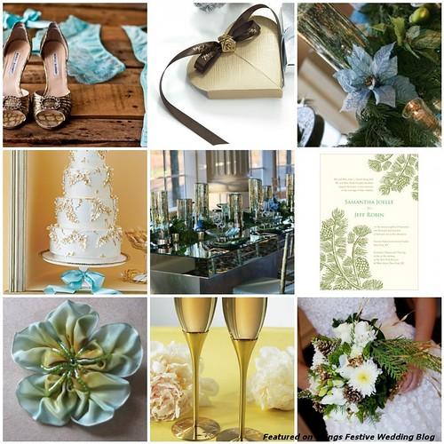Aqua Green Gold Amp Brown Winter Wedding Color Palette