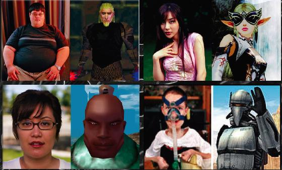 A collage of four sets of photographs of people positioned next to their online avatars. The first is a heavyset young white male. His avatar is a blond, bearded knight-like man. Next is a young Asian woman in a pink shirt. Her avatar is a blonde braided warrior woman with butterfly-wing glasses. The next is an Asian woman with glasses and short hair. Her avatar is also a headshot, of a brown-skinned man with a topknot. The last is a young white boy with what looks like an oxygen-supply device. His avatar is a robotic soldier with its arm raised in greeting.