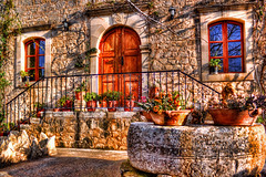 Stone, wood and flowers (Theophilos) Tags: door wood flowers window stone greece crete rethymno
