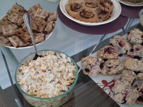 waffles, scones, cinnamon buns, and rice dish