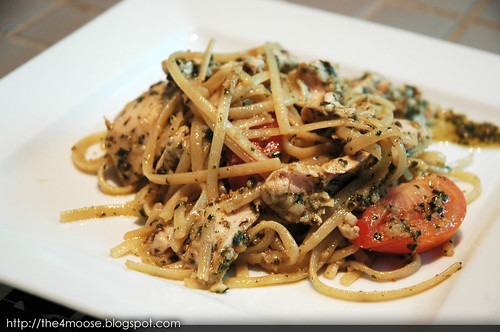 Food for Thought - Basil Almond Pesto Chicken Linguine