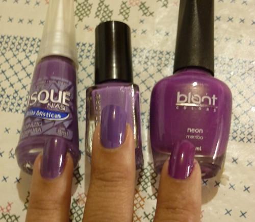 1 - Exotic Jewels Purple(L.A. Colors); 2 - Mambo (Blant); 3 - Topazio Purpura (Risqué)
