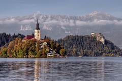 Lake Bled and Mountains (Atilla2008) Tags: alps castle beautiful slovenia alpine bled glacial lakebled julianalps mygearandme mygearandmepremium mygearandmebronze mygearandmesilver