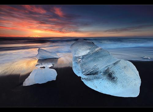 Icebergs - Jökulsárlón Beach, Iceland by orvaratli