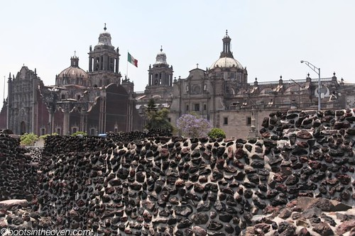 Aztec wall, with cathedral holding court