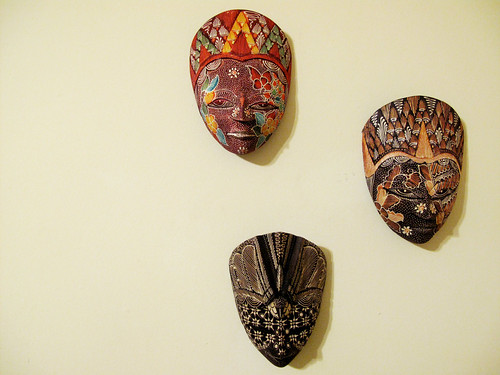 trio of masks in jackie's room
