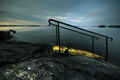 Yellow ladder (- David Olsson -) Tags: blue lake water yellow landscape nikon rocks sweden sigma calm cliffs karlstad ladder railing 1020mm hdr vnern landskap photomatix skutberget d5000 davidolsson