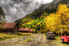 Town of Crystal 2 (Serithian) Tags: hdr high dynamic range sony alpha a6000 photomatix fall colors aspens marble crystal colorado rocky mountains mill river town clouds snow leaves autumn