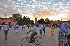 Sunset over Djemaa el Fna. Marrakech. (elsa11) Tags: sunset hijab morocco maroc marrakech medina marrakesh niqab souq marokko soukh koutoubia jemaaelfna moskee djemaaelfna koutoubiamosque nikonflickraward flickrtravelaward