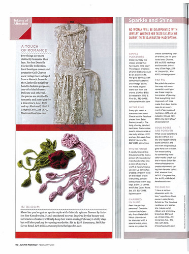 My Diva (Flowers) Scarves in Austin Monthly Romance Issue February 2011