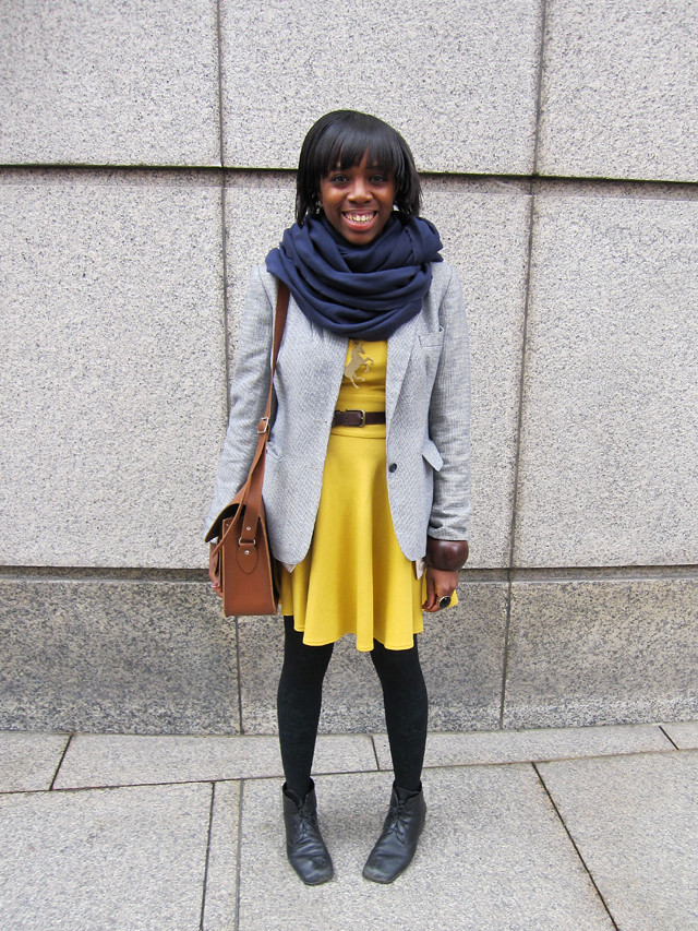 yellow asos dress grey blazer satchel