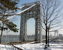 George Washington Bridge over Hudson River, New York-New Jersey (jag9889) Tags: city nyc bridge winter snow ny newyork puente newjersey crossing suspension manhattan nj bridges lookout historic ponte pont hudsonriver brcke gw gwb fortlee waterway georgewashingtonbridge 2011 bergencounty othmarammann panynj portauthorityofnewyorkandnewjersey k007 zip07024 07024 y2011 jag9889