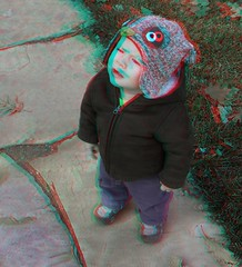 Owl Hat (Anaglyph 3D) (patrick.swinnea) Tags: park playground stereoscopic stereophoto 3d anaglyph miles fujiw3