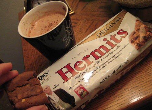 Newman's Own Organics Hermits and hot chocolate