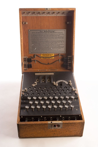 Enigma Machine, During World War II, the Germans used the Enigma, a cipher machine, to develop nearl