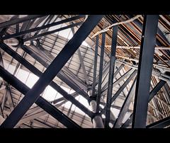 scaffold with iron and bamboo (pooldodo) Tags: photoshop canon eos taiwan bamboo exposition taipei   tamron f28 hdr 2010 lightroom a16  photomatix 50d 1750mm  taipeiinternationalfloraexposition pooldodo