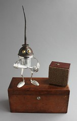 Found Object Robot Assemblage Sculpture By Brian Marshall (adopt-a-bot) Tags: sculpture black art metal vintage silver found robot junk aluminum key tea recycled antique assemblage steel object brian craft fork spoon marshall robots teapot recycle brass patina