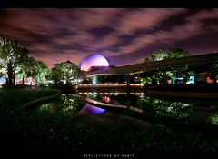 Reflections of Earth (Adam Hansen) Tags: longexposure reflection night epcot disney disneyworld wdw waltdisneyworld epcotcenter spaceshipearth futureworld disneyphoto disneypicture wdwphotography