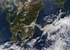[フリー画像] 社会・環境, 災害, 噴火, 日本, 衛星画像, 201102091900