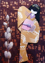 ATC562 - Night lights (tengds) Tags: brown atc gold sticker kimono obi origamipaper papercraft japanesepaper ningyo handmadepaper handmadecard chiyogami japanesepaperdoll nailsticker origamidoll tengds