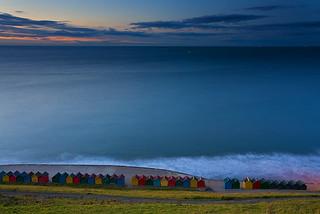 Colourful beach houses, Whitby