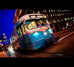 F-Market (kaoni701) Tags: sf sanfrancisco street city urban tower car night nikon downtown market dusk 14 rail castro baybridge embarcadero ferrybuilding bluehour ferryplaza lrv 24mmf14 d700