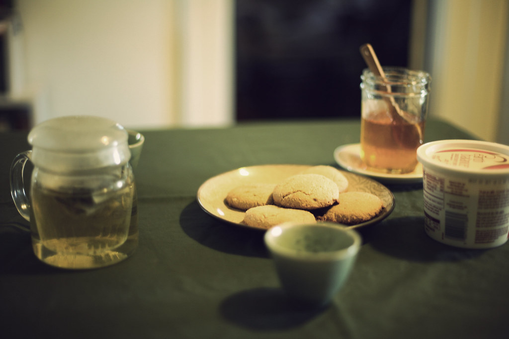 Almond biscuits and honey