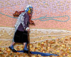 The Marcher (Irit Levy - Mainly art) Tags: old woman walking mosaic pinksky iritlevy