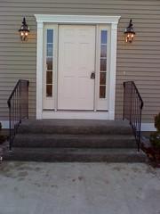 Granite steps with railings