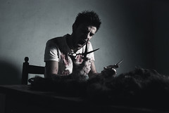 the barber (Emanuele Tagliaferri) Tags: boy portrait cinema man art hair blood nikon flickr solitude contemporary room barber conceptual nikkor ritratto sangue urlo capelli ragazzo 1870 forbici barbiere d80 1870dx