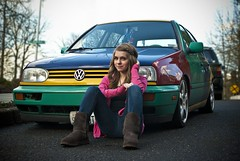 Kass with the Harlequin! (wakeupbaylee) Tags: portrait girl car vw volkswagen harlequin kass matta kassidi vdub wakeupbaylee
