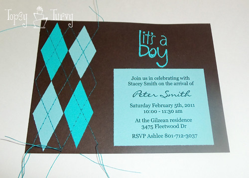argyle baby shower invitation done sewing