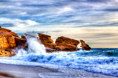 Triopetra (Theophilos) Tags: sea sky nature clouds rocks waves greece crete rethymno