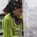 Young girl learning to weave carpets - Hotan, Xinjiang