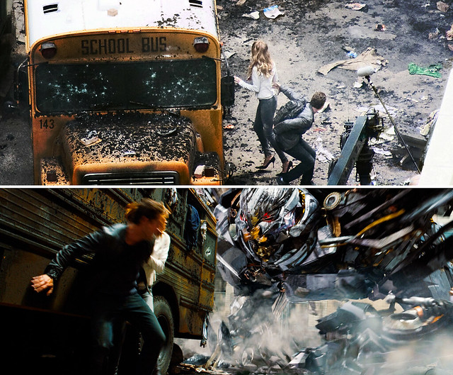 Transformers DOTM (TF3) Shia Rosie Daytona 500 Trailer Bus Scene Compare by Pixel Rally