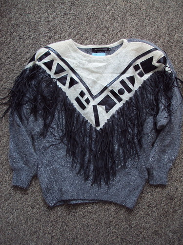 Crazy Geo and Fringe Leather Sweater