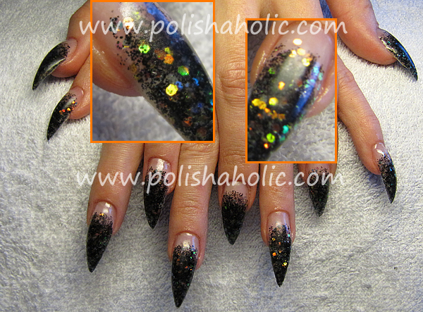 Gel nails black glitter with multi-colored spangles