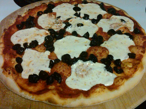 Smoked Mozzarella and Cured Black Olive Pizza