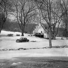 (patrickjoust) Tags: auto county old trees bw usa white house snow black classic 120 6x6 tlr blancoynegro film home car analog rural america creek square lens us reflex md focus automobile mechanical united country north patrick twin maryland super east v german diafine vehicle epson medium format 100 states manual 500 expired 80 joust developed f28 gdr rocca 1990 frederick develop 125 boondocks estados 80mm steinheil blancetnoir orwo unidos v500 montanus cassar schwarzundweiss np22 autaut patrickjoust