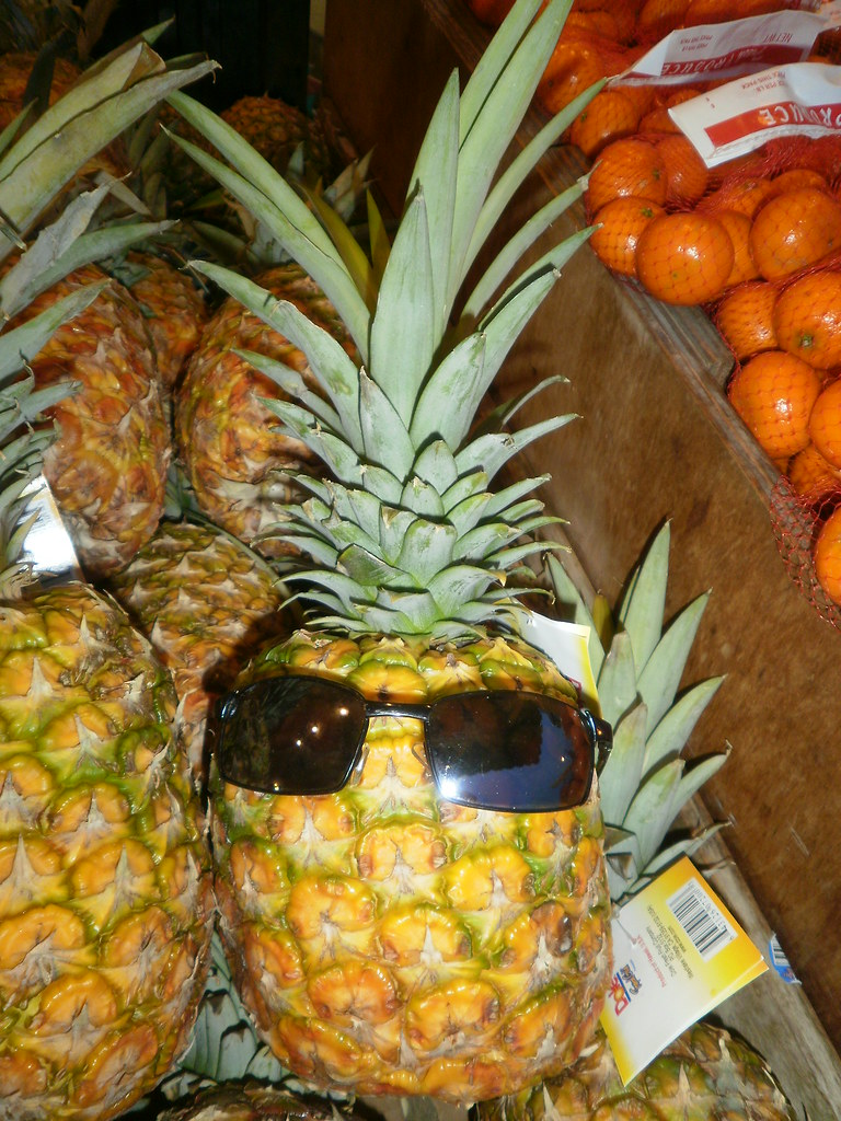 FOUND ITEM: WILD PINEAPPLE...yes, sunglass in a fruit bin at the veggie market...(glasses were broken)