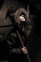 Horror (Kid Gibson) Tags: black look canon austin fur rebel death hoodie scary killing basement evil sigma horror shovel parka dopp 1770mm tenebrism sgphotography t1i