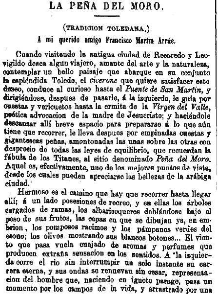 Leyenda de La Peña del Moro publicada en La Amérca por Eugenio de Olavarria y Huarte. Página 1