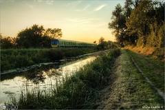 Summer Evening Express (bbusschots) Tags: ireland reflection train evening canal diesel dusk rail railway railcar maynooth hdr pathway irishrail trainset topaz kildare royalcanal dmu photomatix tonemapped kilcock tthdr iarnródéireann topazadjust dmu4 class29000 classie29000
