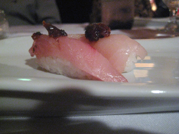 yellowtail nigiri with scallion-ponzu puree